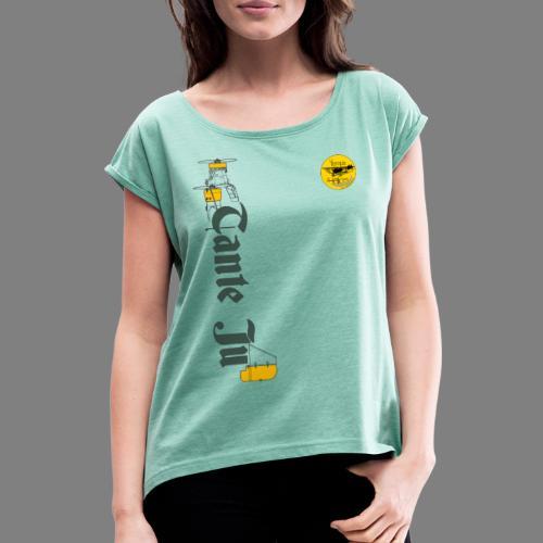 TDH19-PROFIL-JU52 GRIS FONCE - T-shirt à manches retroussées Femme