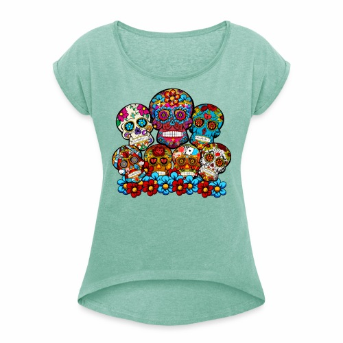 Grupo de calaveras - Camiseta con manga enrollada mujer