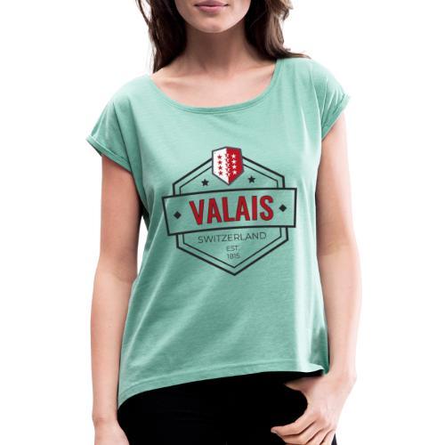 Valais established 1815 - Suisse - Frauen T-Shirt mit gerollten Ärmeln