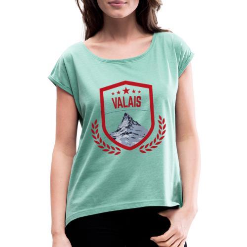 Walliser Logo mit dem Matterhorn - Frauen T-Shirt mit gerollten Ärmeln