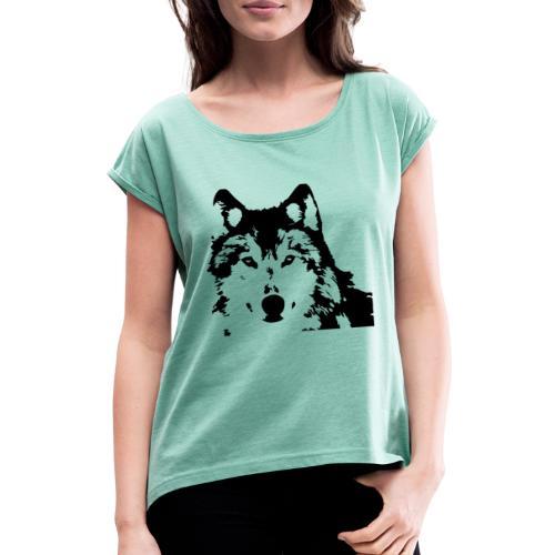 Wolf - Loup - Husky - Frauen T-Shirt mit gerollten Ärmeln
