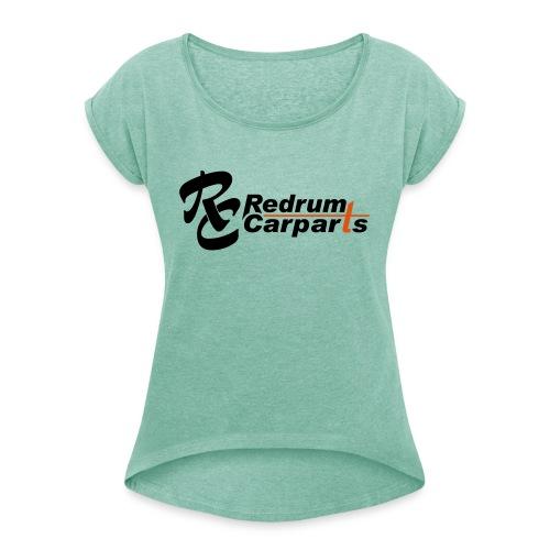 Logo ohne url - Frauen T-Shirt mit gerollten Ärmeln