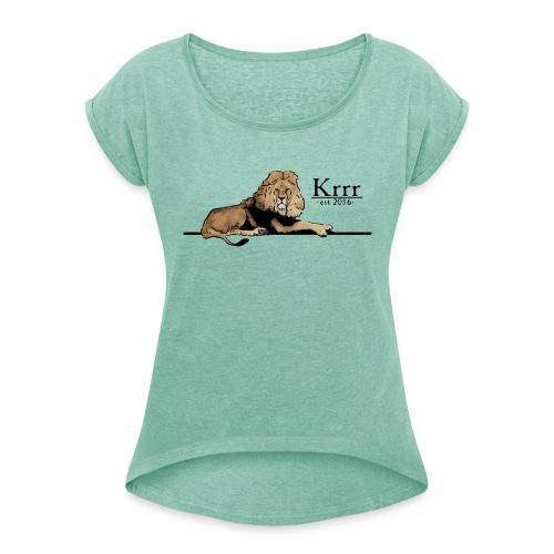 löwe farbig - Frauen T-Shirt mit gerollten Ärmeln