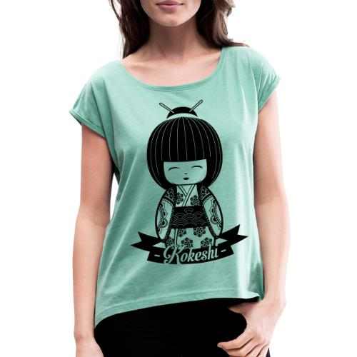 Kokeshi Black - Frauen T-Shirt mit gerollten Ärmeln