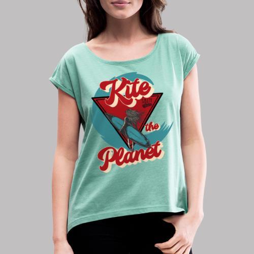 ktp salty sisters surf - Frauen T-Shirt mit gerollten Ärmeln