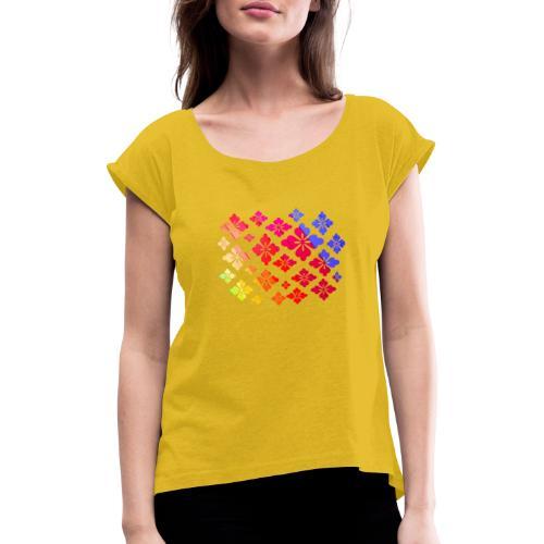 Flower Power Regenbogen Blumen - Frauen T-Shirt mit gerollten Ärmeln