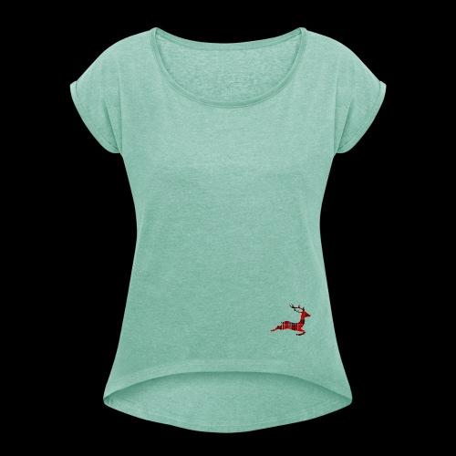 noël cerf écossais - T-shirt à manches retroussées Femme
