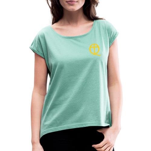 QC Gul - T-shirt med upprullade ärmar dam