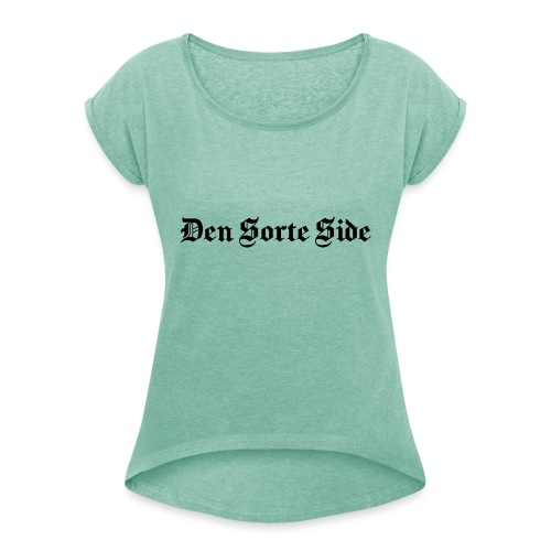text3701 - Dame T-shirt med rulleærmer