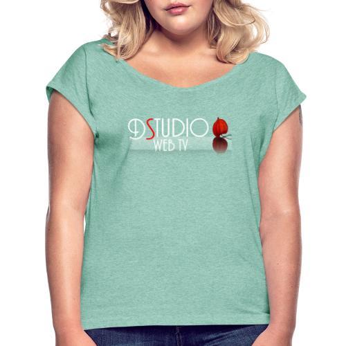 DSTUDIO ECRIT AVEC CAGE DAMOUR ET REFLET BLANC WEB - T-shirt à manches retroussées Femme
