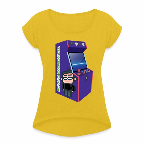 Game Booth Arcade Logo - Women's T-Shirt with rolled up sleeves