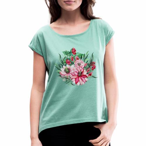 Fleurs Tropicales - T-shirt à manches retroussées Femme