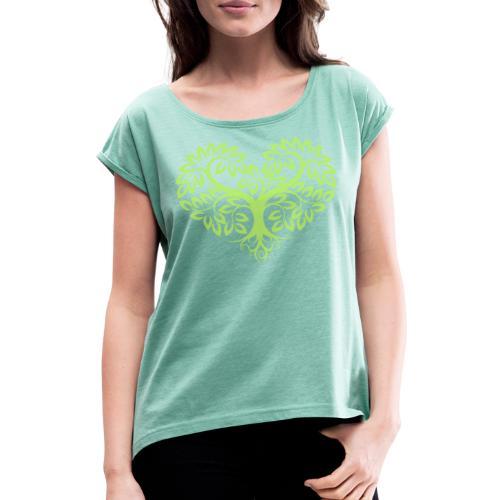 Herzbaum Lebensbaum Naturmotiv Baum des Lebens - Frauen T-Shirt mit gerollten Ärmeln
