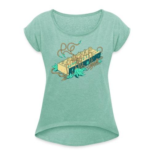 Modular Synthesizer - Turquoise - Frauen T-Shirt mit gerollten Ärmeln