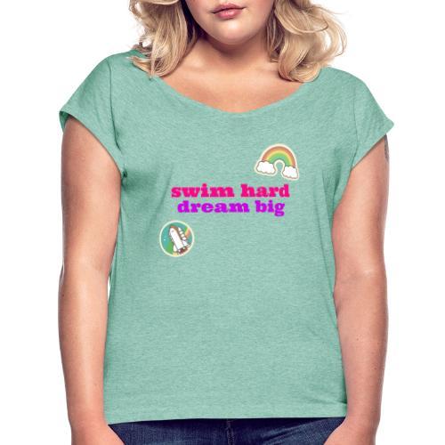 Swim Hard - Maglietta da donna con risvolti