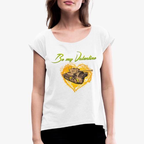 Glowing Valentine Heart - Frauen T-Shirt mit gerollten Ärmeln