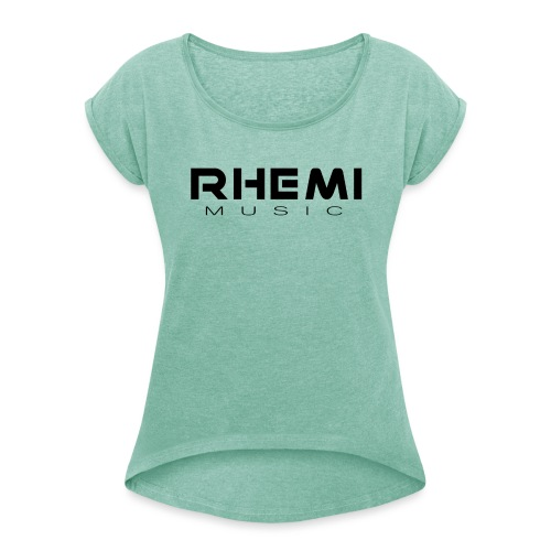 Classic Rhemi Logo Black - Women's T-Shirt with rolled up sleeves
