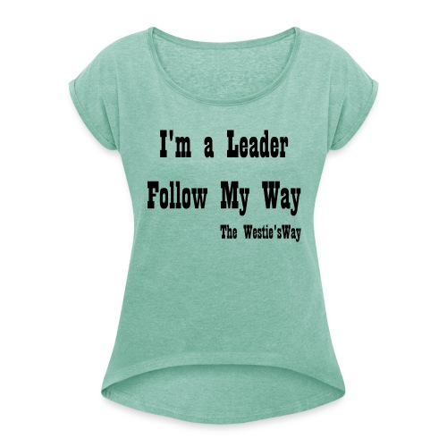 Follow My Way Black - Koszulka damska z lekko podwiniętymi rękawami