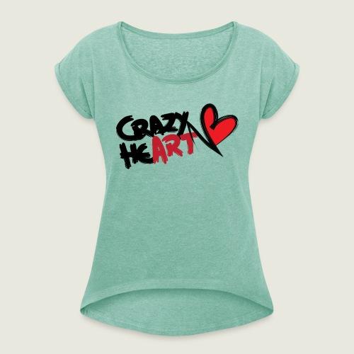 crazyheart - Maglietta da donna con risvolti