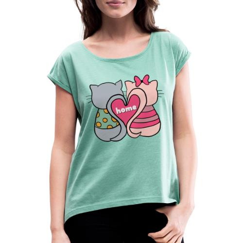 Cats - Women's T-Shirt with rolled up sleeves