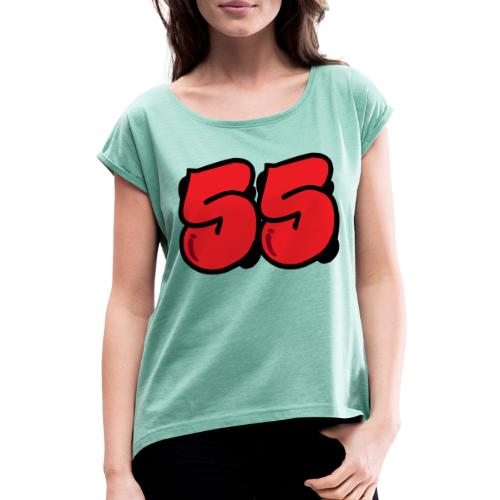 grafbred - Naisten T-paita, jossa rullatut hihat