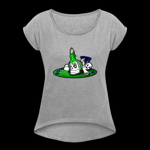 greenSkull svg - Frauen T-Shirt mit gerollten Ärmeln