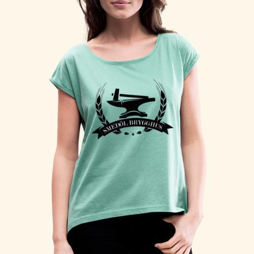 Smedöl Brygghus Logga Svart - T-shirt med upprullade ärmar dam