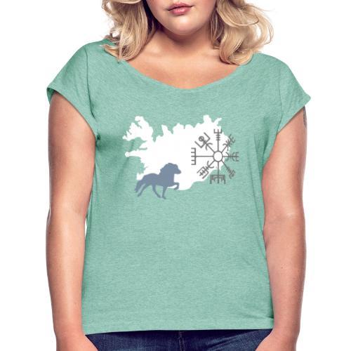 Vegvisir Tölter - Frauen T-Shirt mit gerollten Ärmeln