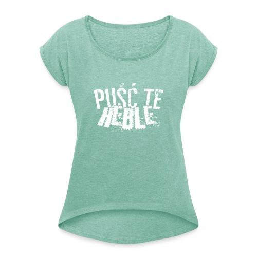PTH white D - Koszulka damska z lekko podwiniętymi rękawami