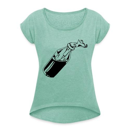 molotov Cocktail - Frauen T-Shirt mit gerollten Ärmeln
