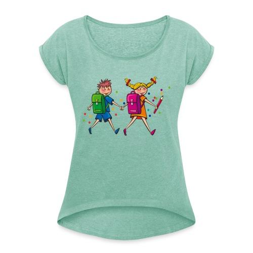 Schulkinder - Frauen T-Shirt mit gerollten Ärmeln