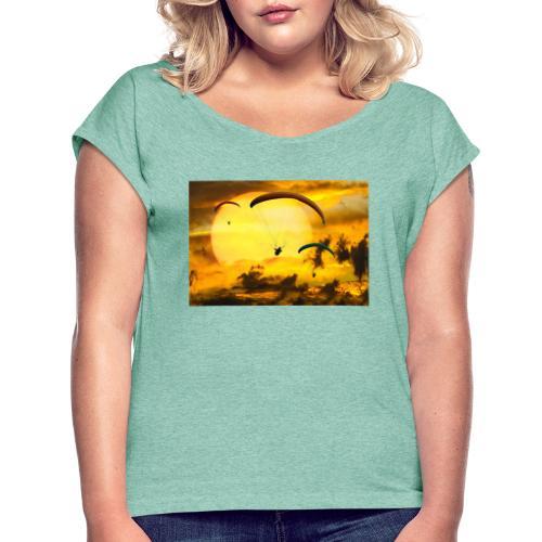 paragliding -Shah - Frauen T-Shirt mit gerollten Ärmeln