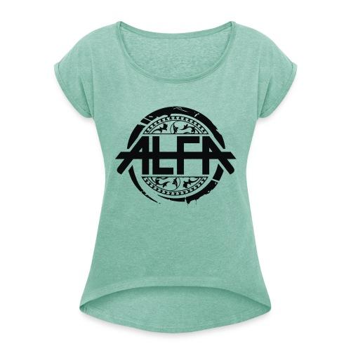 Alfa Logo - Frauen T-Shirt mit gerollten Ärmeln