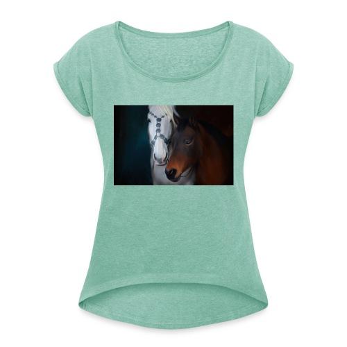 Painted horse portrait - Frauen T-Shirt mit gerollten Ärmeln