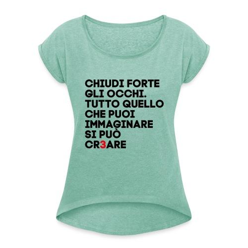 CR3ARE CLAIM 01 - Maglietta da donna con risvolti