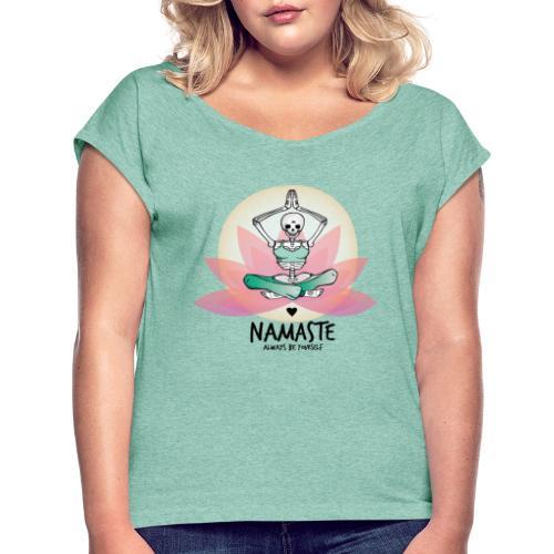 Yoga-Liebe für immer - Frauen T-Shirt mit gerollten Ärmeln