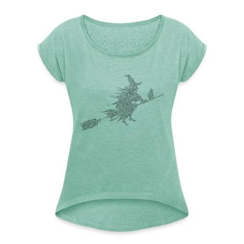 czarownica - Koszulka damska z lekko podwiniętymi rękawami