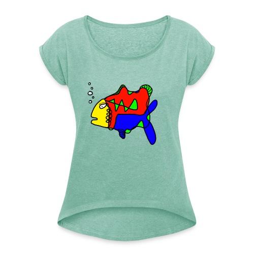 Tusche Fisch --- one line - Frauen T-Shirt mit gerollten Ärmeln