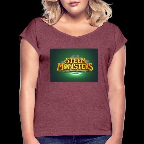 steem monsters - Frauen T-Shirt mit gerollten Ärmeln