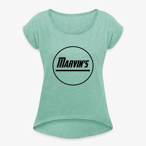 Marvin's black - Frauen T-Shirt mit gerollten Ärmeln