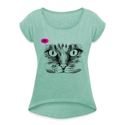 kattegezicht vdh - Vrouwen T-shirt met opgerolde mouwen