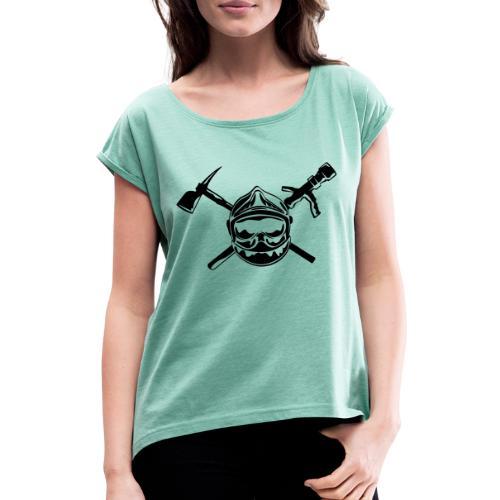 casque_pompier_hache et lance - T-shirt à manches retroussées Femme