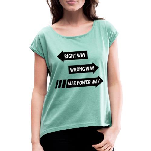Max Power - T-shirt med upprullade ärmar dam