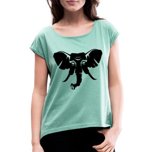 Skiclub Nairobi Elefant Frontlogo - Frauen T-Shirt mit gerollten Ärmeln