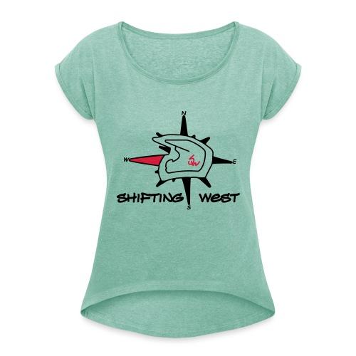 Shifting West Logo vector - Vrouwen T-shirt met opgerolde mouwen