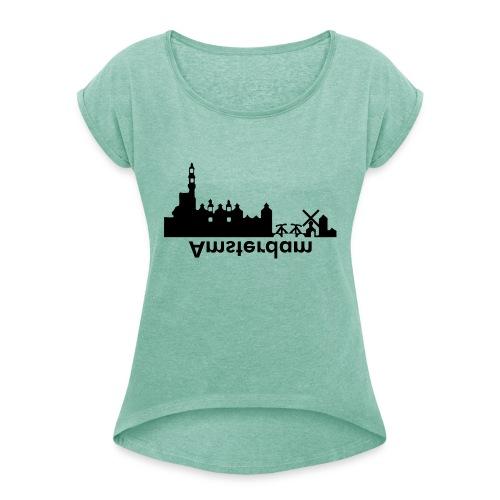 Amsterdam Skyline - Frauen T-Shirt mit gerollten Ärmeln