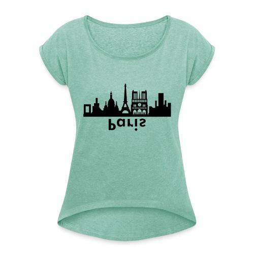 Paris Skyline - Frauen T-Shirt mit gerollten Ärmeln