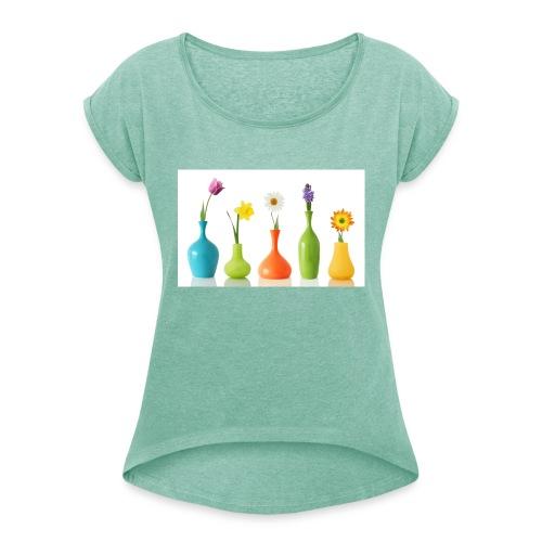 bloempotje - Vrouwen T-shirt met opgerolde mouwen