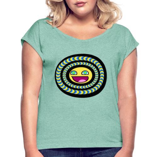 smiley psychédélique 01 - T-shirt à manches retroussées Femme