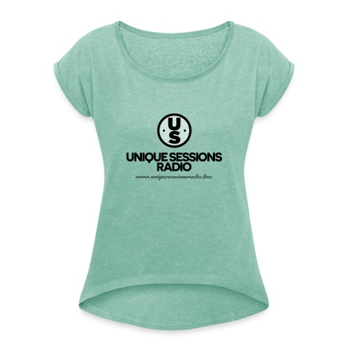 USR Main logo - Women's T-Shirt with rolled up sleeves